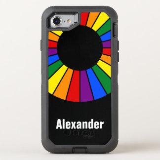 Coque Otterbox Defender Pour iPhone 7 Arc-en-ciel rond de cadre de rayons + votre