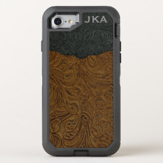 Coque Otterbox Defender Pour iPhone 7 Cuir usiné par Brown rustique (Faux)
