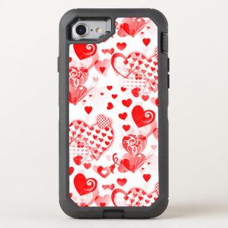 Coque Otterbox Defender Pour iPhone 7 Les coeurs tatouent le motif sans couture + vos