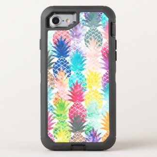 Coque Otterbox Defender Pour iPhone 7 Motif tropical hawaïen d'ananas d'aquarelle