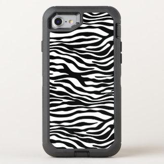 Coque Otterbox Defender Pour iPhone 7 Noir et blanc de motif de rayures de zèbre + vos