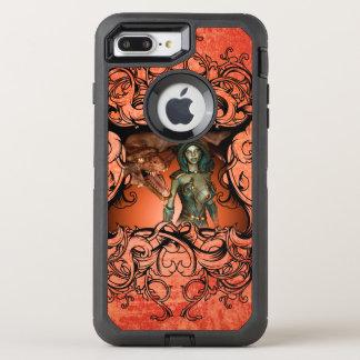 Coque Otterbox Defender Pour iPhone 7 Plus Amis, dragon avec le combattant dans un cadre