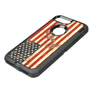 Coque Otterbox Defender Pour iPhone 7 Plus L'antiquité s'est rouillée le drapeau américain