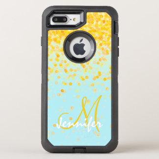 Coque Otterbox Defender Pour iPhone 7 Plus Nom jaune d'or Girly d'ombre de turquoise de