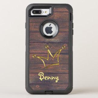 Coque Otterbox Defender Pour iPhone 7 Plus Or drôle de couronne + votre backgr. et texte