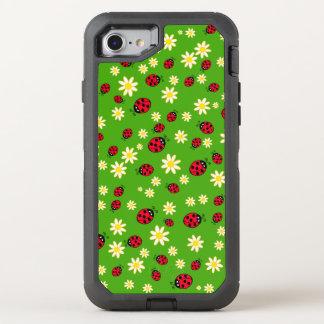 Coque Otterbox Defender Pour iPhone 7 vert mignon de motif de fleur de coccinelle et de