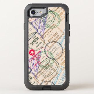 Coque Otterbox Defender Pour iPhone 7 Voyage de timbres de passeport orienté