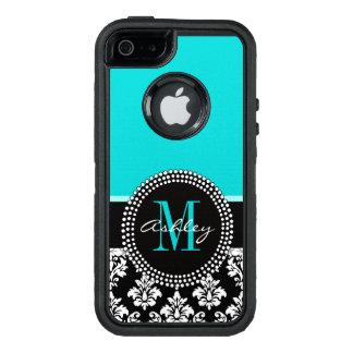 Coque OtterBox iPhone 5, 5s Et SE Damassé Girly de noir d'Aqua votre nom de