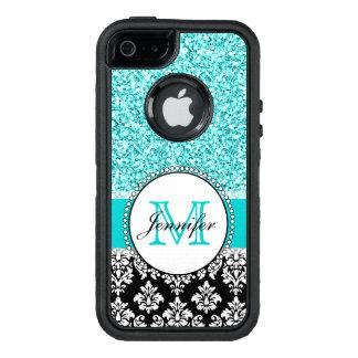 Coque OtterBox iPhone 5, 5s Et SE Girly, turquoise, damassé noire de scintillement