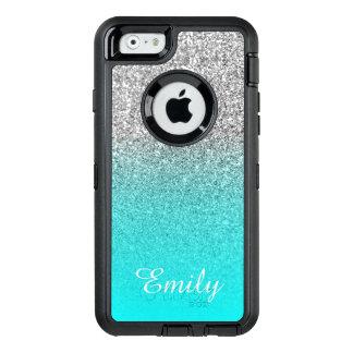 Coque OtterBox iPhone 6/6s Aqua argenté Ombre de scintillement personnalisé