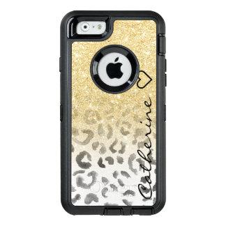 Coque OtterBox iPhone 6/6s Aquarelle Girly de léopard de scintillement d'or