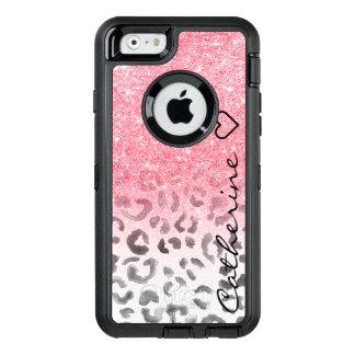 Coque OtterBox iPhone 6/6s Aquarelle rose de léopard de scintillement d'or de