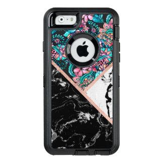 Coque OtterBox iPhone 6/6s Bloc floral de couleur d'or rose blanc noir de