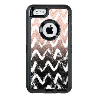 Coque OtterBox iPhone 6/6s Chevron rose de marbre de noir de scintillement