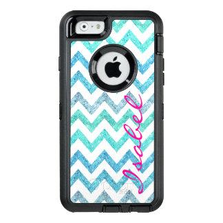 Coque OtterBox iPhone 6/6s Chevron turquoise de scintillement de turquoise de