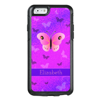 Coque OtterBox iPhone 6/6s Coutume rose Girly de pourpre de papillons de