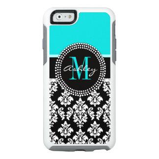 Coque OtterBox iPhone 6/6s Damassé Girly de noir d'Aqua votre nom de