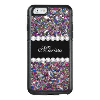 Coque OtterBox iPhone 6/6s Étincelles bleues pourpres de blanc de rose Girly
