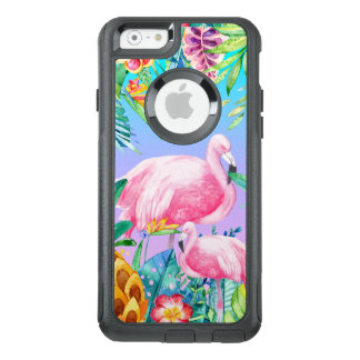 Coque OtterBox iPhone 6/6s Fleurs tropicales et flamants d'aquarelles