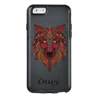 Coque OtterBox iPhone 6/6s Gris de jaune de tête de loup rouge