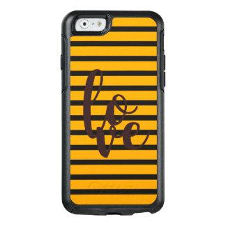 Coque OtterBox iPhone 6/6s L'amour barre l'arrière - plan orange noir