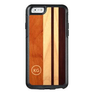 Coque OtterBox iPhone 6/6s Le grain en bois moderne barre le logo fait sur