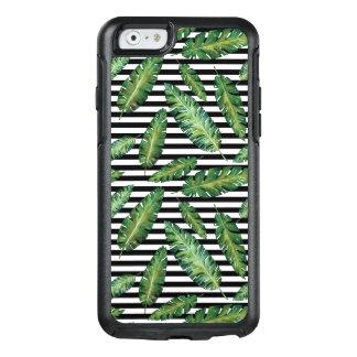 Coque OtterBox iPhone 6/6s Le noir barre le motif tropical d'été de feuille