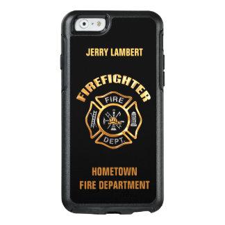 Coque OtterBox iPhone 6/6s Modèle de nom de sapeur-pompier d'or
