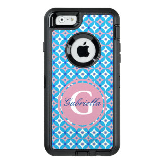 Coque OtterBox iPhone 6/6s Monogramme bleu et rose Girly de point de polka de