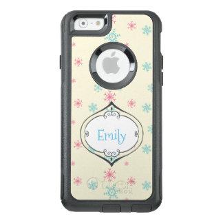 Coque OtterBox iPhone 6/6s Motif rose et bleu de flocon de neige personnalisé