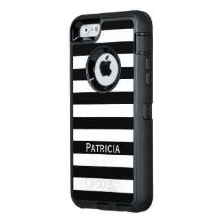 Coque OtterBox iPhone 6/6s Rayures blanches et noires nobles. Customisez-le !