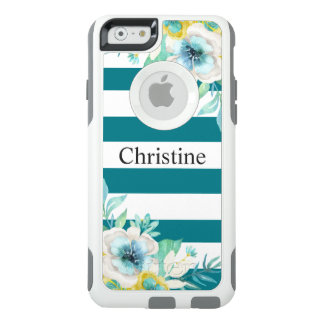 Coque OtterBox iPhone 6/6s Rayures blanches modernes d'aquarelle florale