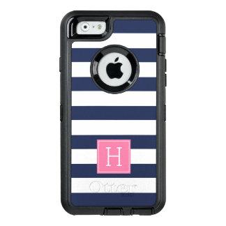 Coque OtterBox iPhone 6/6s Rayures bleues nautiques et monogramme rose