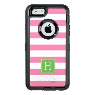 Coque OtterBox iPhone 6/6s Rayures roses nautiques et monogramme vert
