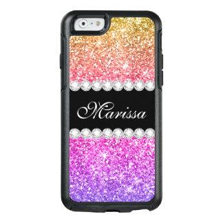 Coque OtterBox iPhone 6/6s Ruban noir mignon de scintillement pourpre rose