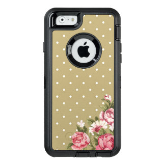 Coque OtterBox iPhone 6/6s Téléphone Girly floral de point de polka d'or