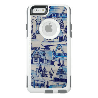 Coque OtterBox iPhone 6/6s Village bleu vintage de vacances de Noël