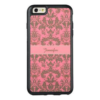 Coque OtterBox iPhone 6 Et 6s Plus Cru, rouge de violette pâle et nom brun de damassé