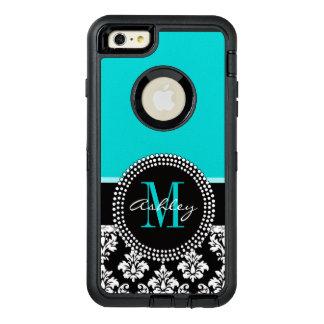 Coque OtterBox iPhone 6 Et 6s Plus Damassé Girly de noir d'Aqua votre nom de