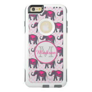 Coque OtterBox iPhone 6 Et 6s Plus Éléphants de roses indien gris sur le pois rose,