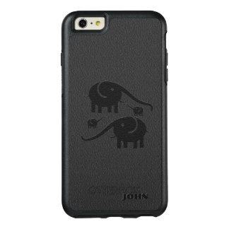 Coque OtterBox iPhone 6 Et 6s Plus Éléphants noirs sur le cuir noir