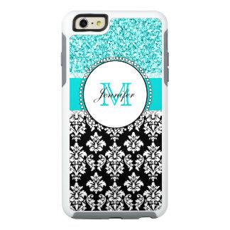 Coque OtterBox iPhone 6 Et 6s Plus Girly, turquoise, damassé noire de scintillement