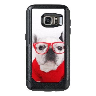 Coque OtterBox Samsung Galaxy S7 Bouledogue français avec les verres et la chemise