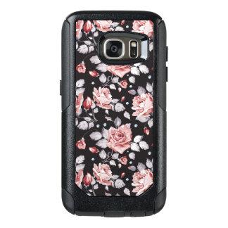 Coque OtterBox Samsung Galaxy S7 Caisse florale rose vintage de la galaxie S7 de