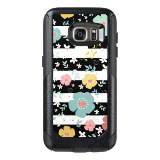 Coque OtterBox Samsung Galaxy S7 Fleurs et rayures colorées mignonnes noir et blanc