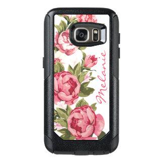 Coque OtterBox Samsung Galaxy S7 Le cru personnalisé rougissent les pivoines roses