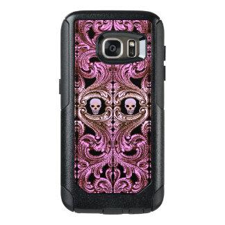 Coque OtterBox Samsung Galaxy S7 Ornement rose de Goth avec le crâne