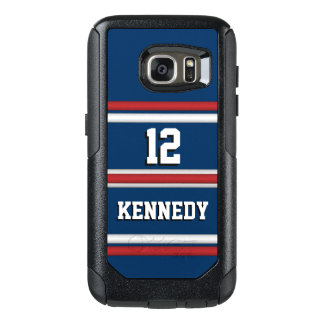 Coque OtterBox Samsung Galaxy S7 Rayures bleues blanches rouges du Jersey d'esprit