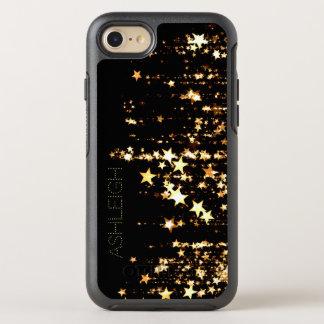 Coque OtterBox Symmetry iPhone 8/7 Étoiles d'or de tir sur le noir personnalisé