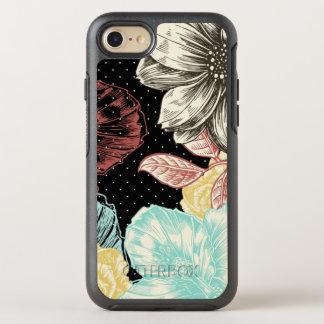 Coque OtterBox Symmetry iPhone 8/7 Floral noir gravé par vecteur graphique audacieux